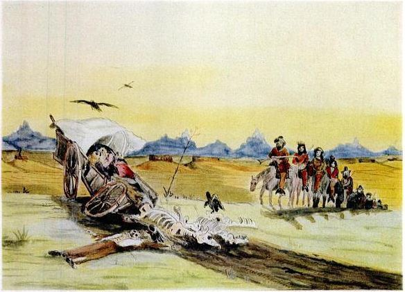 The gang approaches a wagon destroyed by Indians
