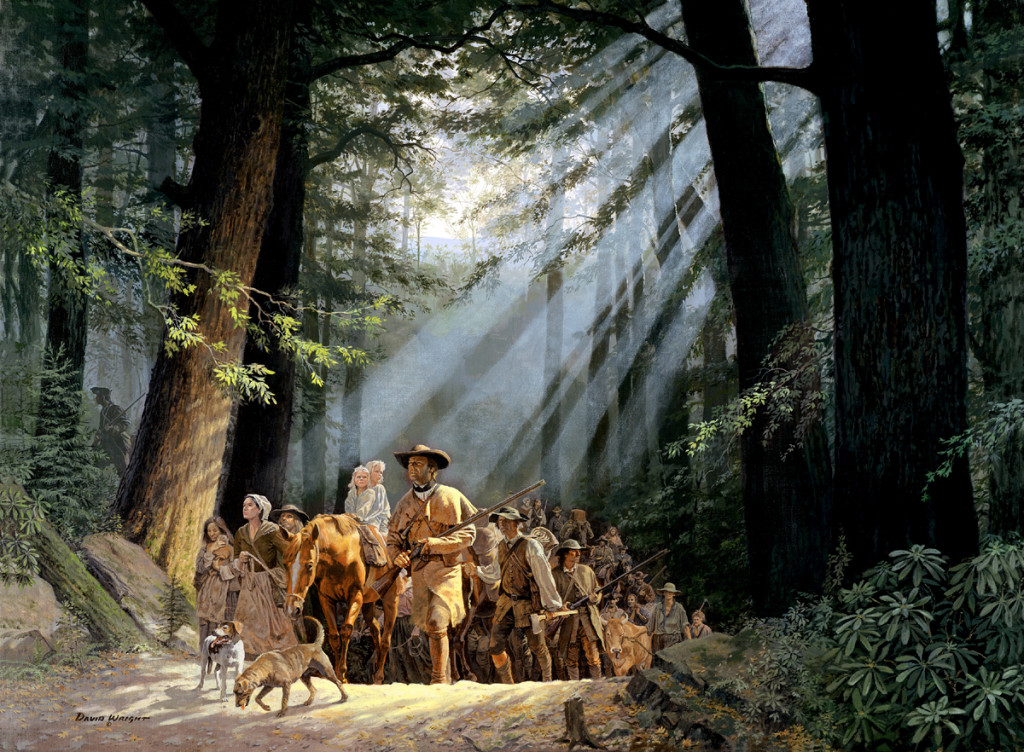 David Wright's painting of Daniel Boone leading settlers into the promised land of Kentucky is the cover image of the new documentary Daniel Boone and the Opening of the West. The religious overtones are no accident; the Boone story is a kind of American Exodus.