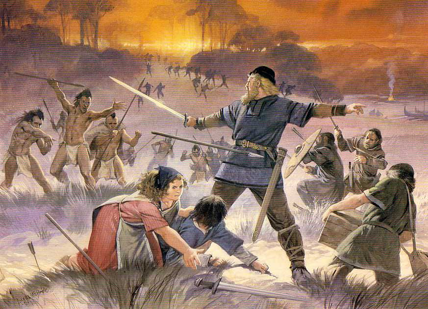Vikings confront Skraelings on the first North American frontier. Art by Angus McBride.