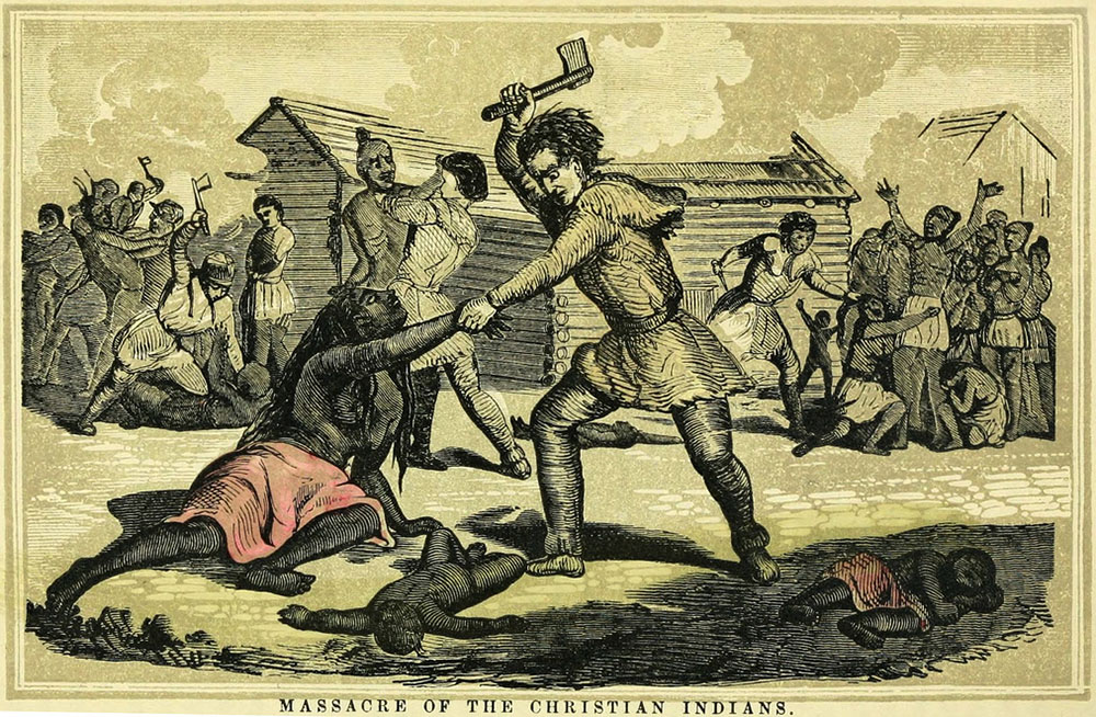 Militiamen brutally slaughtered 96 innocent Christian Indians in a 1782 atrocity in the Ohio Country.
