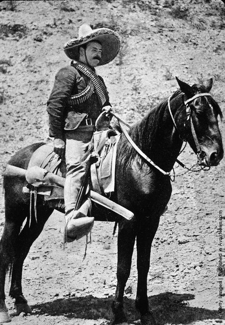 A shot from early ion the Mexican Revolution showing what looks like a Winchester lever action rifle — probably an 1894 in .30-30 — in Villa's saddle scabbard.