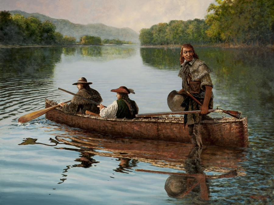 "Steve White's painting of Simon Kenton's ""Voyage To Steal Horses."" My brother gave me Allen W. Eckert's ""The Frontiersmen,"" a narrative history of Kenton and the Ohio Valley Frontier, when I was 13 or 14 years old. Kenton became my archetype Frontier Partisan."
