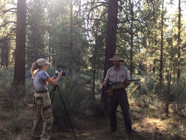 "Lynn Woodward shooting the EPK video for ""Warriors of the Wild lands: True Tales of the Frontier Partisans."""