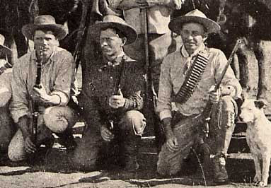 Frederick Russell Burnham, center, also hit the bullseye.