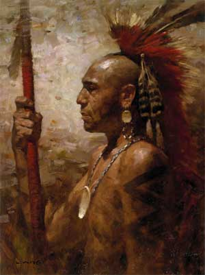 A Pequot warrior. The Algonquin peoples of the east coast were tall, robust and handsome people.