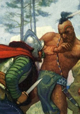 Miles Standish does battle. By N.C. Wyeth.