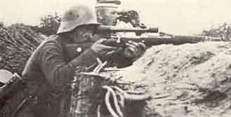 "Note that the high mounts force the rifleman to hold his head up and make contact with the side of his chin instead of attaining the ""cheek-weld"" considered vital to precision shooting today."