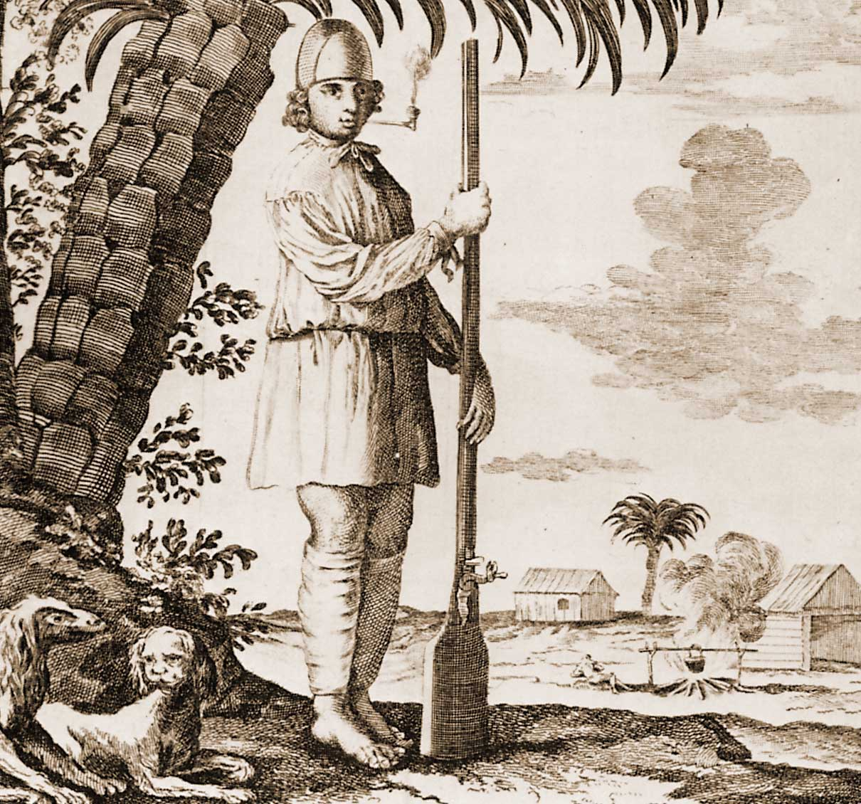 A boucanier with his long, heavy-butted musket.
