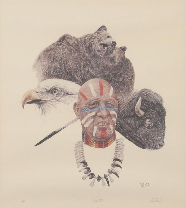 Grey Otter, by Earl Cacho. That name is a blast from the past, too. My favorite shop in Wrightwood was a little trading post that dealt in Western and Indian themed art and jewelry and such. Earl Cacho's work was all over that place. Time-trippin'. It all seems so close...