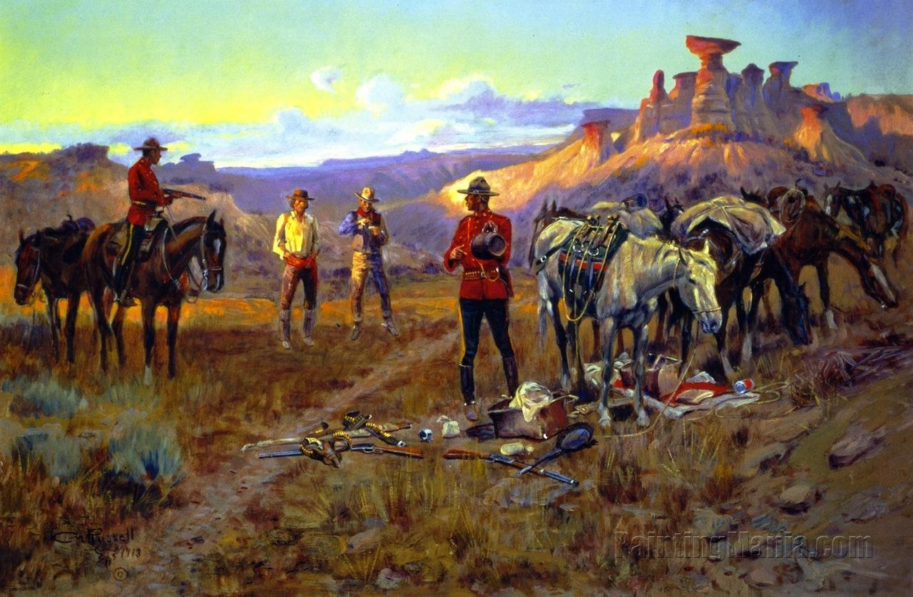 Whiskey smugglers caught with the goods, by Charles M. Russell. The Mounties made a valiant effort to curb a rampant illicit trade in whiskey on the Canadian prairie, but there just weren't enough of them to stop the flood.
