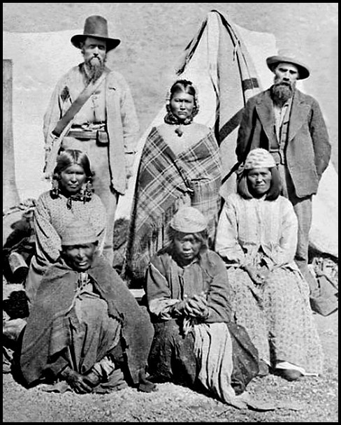 Frank Riddle, standing, right, was an interpreter among the Modoc. He was with Ben Wright on the expedition that culminated in massacre and offered his recollection of the events — which have been interpreted in very different ways by subsequent chroniclers.